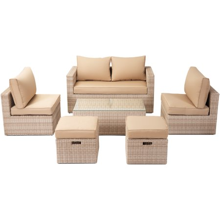 CLEARANCE! Outdoor Patio Furniture Sets, 6Pcs Wicker Patio Conversation  Sofa Sets w/Loveseat, 2 Single Armless Sofas, 5 mm Coffee Table, Aluminum  Tube ...