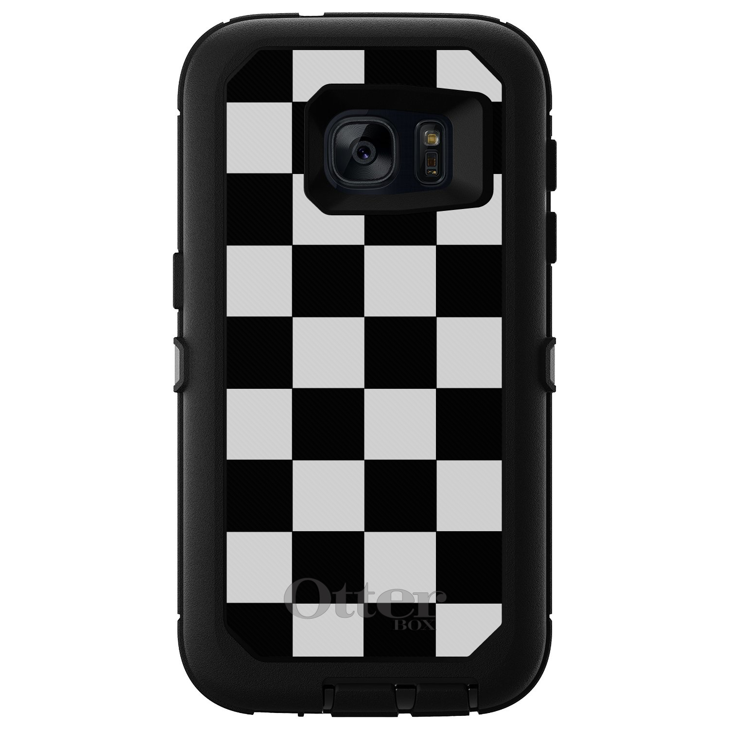 DistinctInk™ Custom Black OtterBox Defender Series Case for Samsung Galaxy S7 - Black White Checkered Flag Geometric