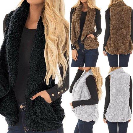High Quality Winter Warm Pocket Fluffy Coat for Women Ladies Fleece Fur Jacket Outerwear Vest Coat Womens Fur Vest