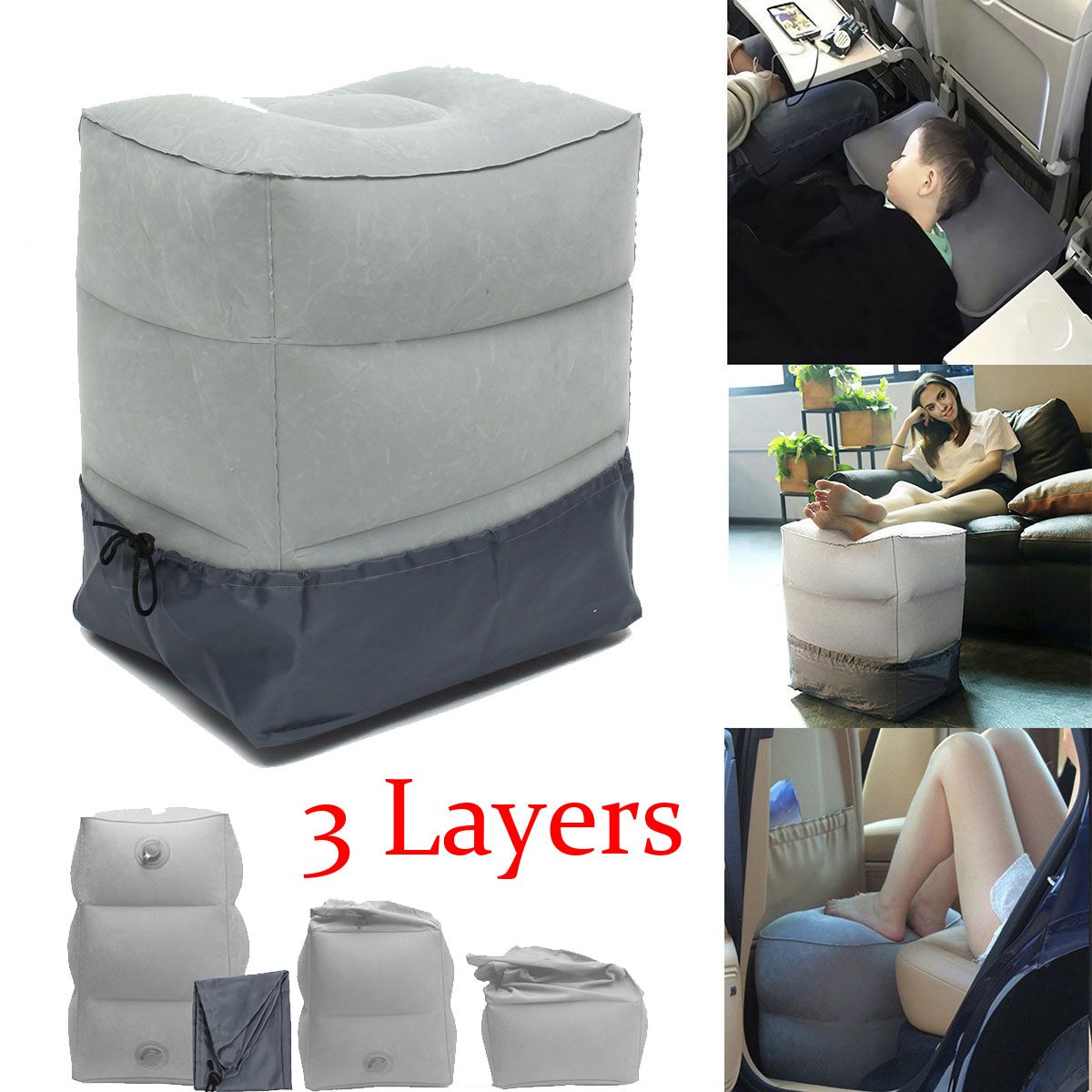 Inflatable Beds With Legs: 3 Layers Inflatable Travel Pillow Footrest Leg Foot Rest