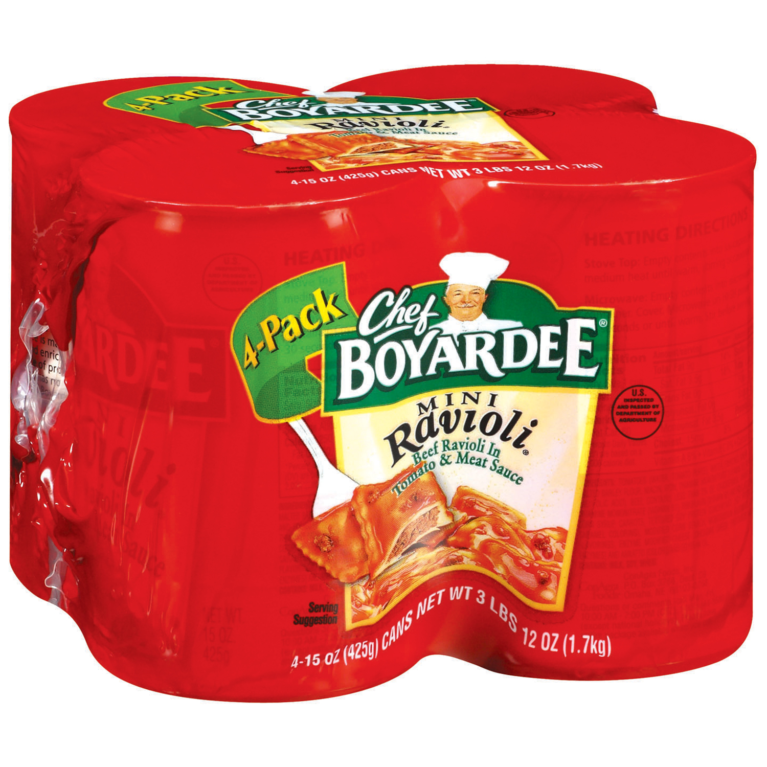 Chef Boyardee Mini Beef Ravioli in Tomato & Meat Sauce, 4-Pack by ConAgra Foods Inc.