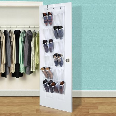 - Eutuxia Over the Door 24 Pocket Shoe Organizer Hanging Rack with 3 Steel Door Hooks. Breathable Mesh Back with Transparent PVC Pockets. Good for Closet, Kitchen, or Organizing Your Room. Space Saver.