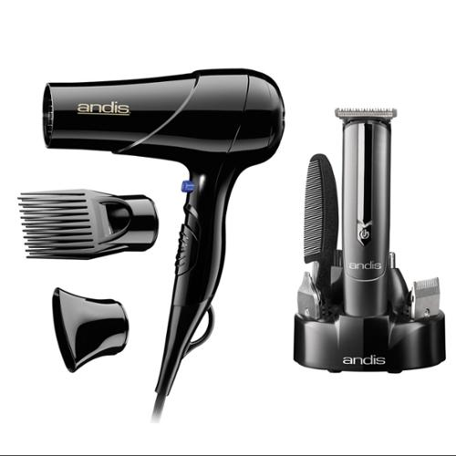 Andis Hair Blow Dryer with Comb & Nozzle Attachments with 10-Piece Beard & Mustache Grooming Trimmer Kit