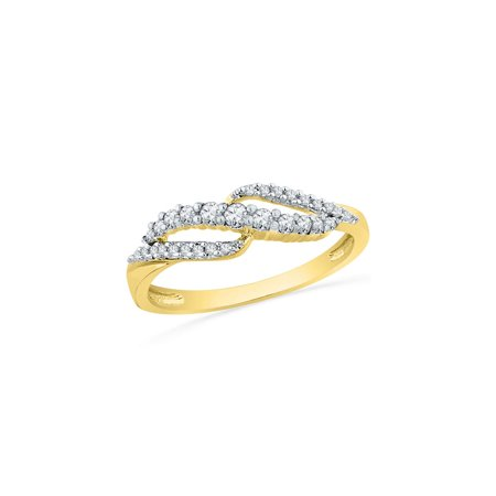 - 10kt Yellow Gold Womens Round Diamond Crossover Band Ring 1/4 Cttw