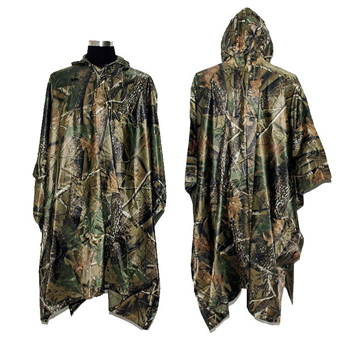 Click here to buy PVC Camping Hiking Cycling Hunting Multifunction Military Camouflage Portable Rain Poncho Coating Nylon Hooded Ripstop... by EECOO.