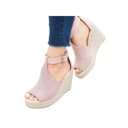 Women's Wedge High Heel Espadrilles Sandals Ankle Strap Casual Shoes Size (Steve Madden Ankle Wedges)