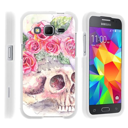 Samsung Galaxy Grand Prime G530, [SNAP SHELL][White] Hard White Plastic Case with Non Slip Matte Coating with Custom Designs - Flower (Time Skull Snap)