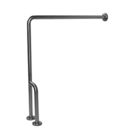 Ponte Giulio G55JCR38 90 degree Floor to Wall 30 x 33 in. Stainless Steel Grab Bar with Outrigger - Right