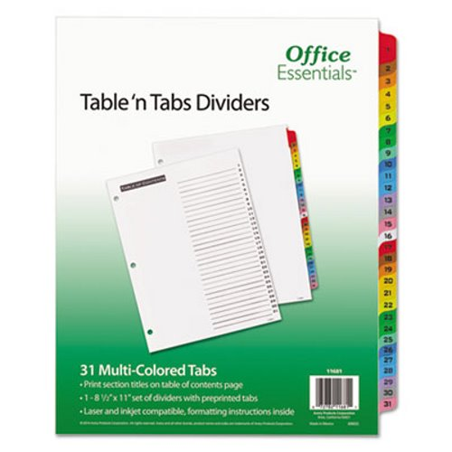 Office Essentials Table 'N Tabs Dividers, 1-31, Letter, 1 Set (AVE11681)