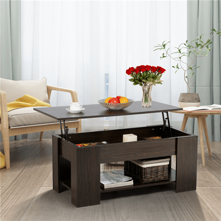 - Modern Lift-up Top Tea Coffee Table w/Hidden Storage Compartment & Shelf Espresso
