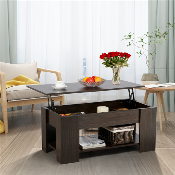Product Image Modern Lift Up Top Tea Coffee Table W/Hidden Storage  Compartment U0026 Shelf Espresso