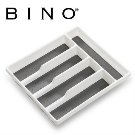 BINO 5-Slot Silverware Cutlery Tray Organizer, Large - White - Utensil Organzizer with Soft Grip Lining