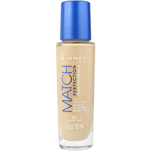 Rimmel Match Perfection Light Perfecting Radiance Sunscreen Foundation, 101 Classic Ivory, 1 fl oz