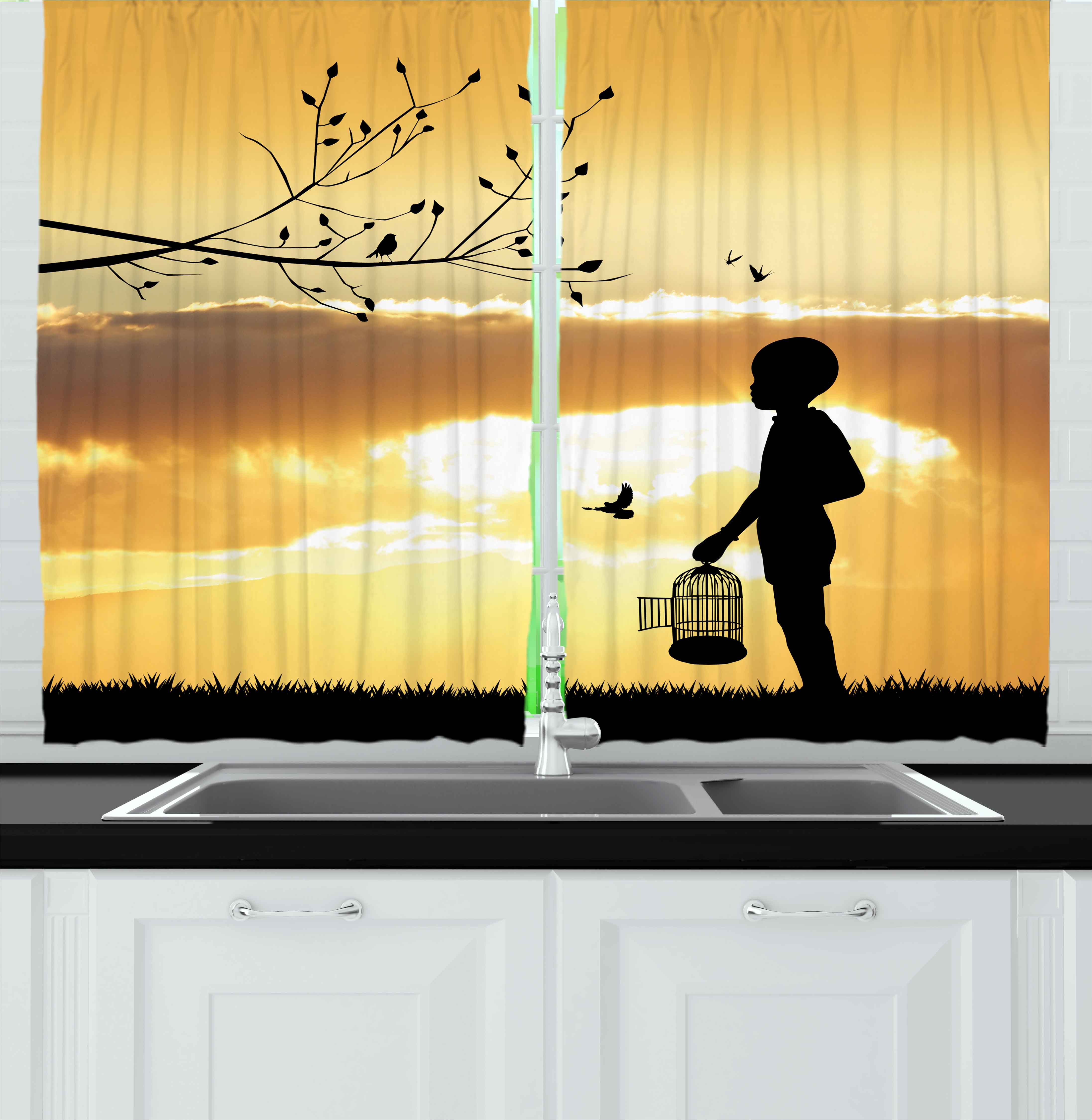 Nature Curtains 2 Panels Set, Little Child Silhouette with a Bird Cage at Sunset in Forest Rural Trees Birds, Window Drapes for Living Room Bedroom, 55W X 39L Inches, Marigold Black, by Ambesonne