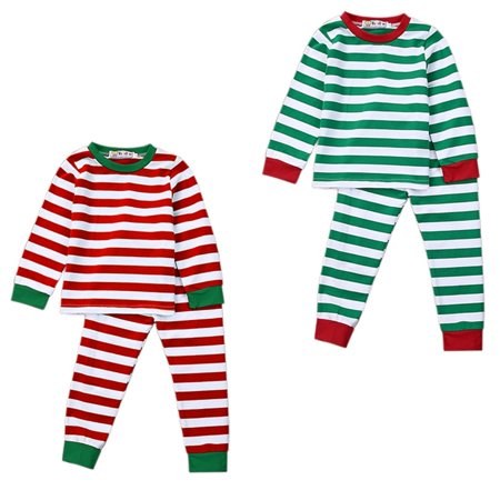 Fancy Kids Wear (The Newest and Hotsale Fashion Children´s Christmas Striped Home Service Toddler Kids Baby Girl Boy Striped Pajamas Sleepwear Nightwear)