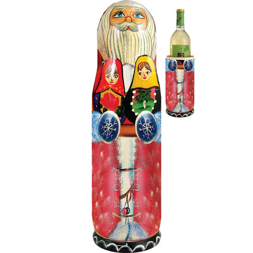 G Debrekht Russia Santa Matroyshka 1 Bottle Tabletop Wine Rack