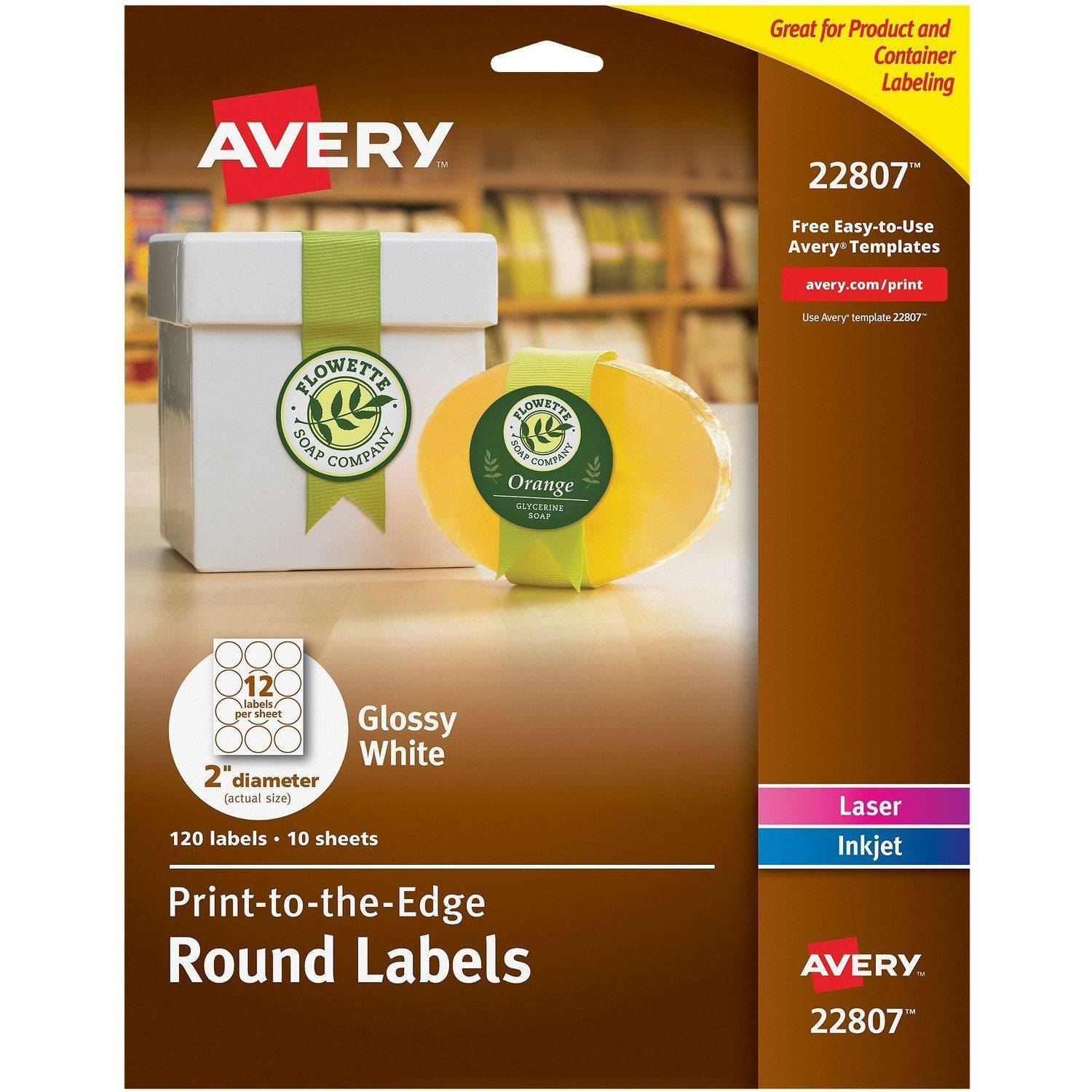 Avery Glossy White Laser Inkjet Print-to-the-Edge Round Labels 22807 10 Sheets