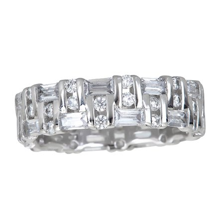Multi Stone Band (Sterling Silver Cubic Zirconia Baguette & Round Multi Stone Eternity Band)