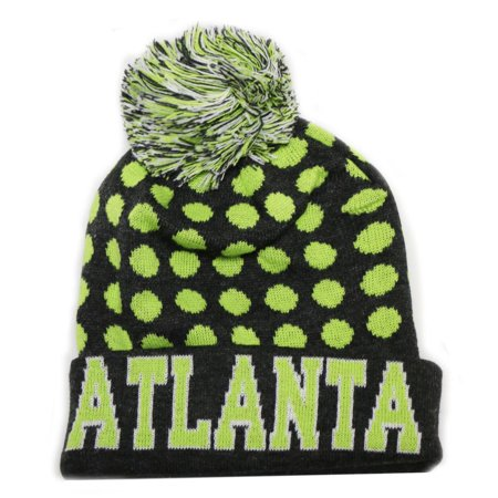355c5afd1ffd6 City Hunter Sk1150 Atlanta Dots Knit Beanie Hats (Dark Grey neon Lime)