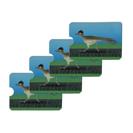 Roadrunner Runs Fast Credit Card RFID Blocker Holder Protector Wallet Purse Sleeves Set of 4 ()