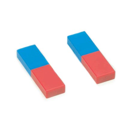 Plastic Cased Bar Magnet Pair - Blue/Red - Eisco Labs