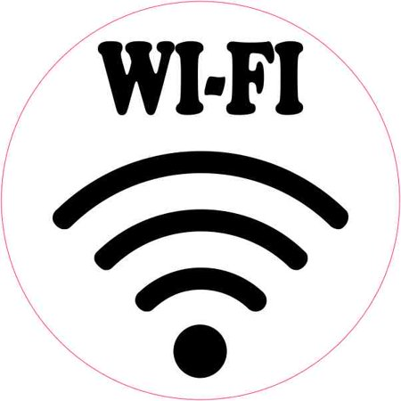 4in x 4in circle wi fi symbol sticker vinyl decal busines sign stickers