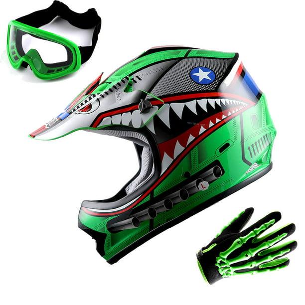 Wow Youth Kids Motocross Bmx Mx Atv Dirt Bike Helmet Hboy Shark Green Goggles Skeleton Green Glove Bundle Walmart Com Walmart Com