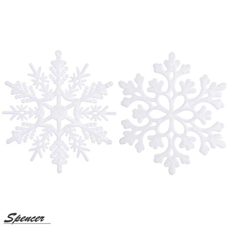 Spencer 4 inch Pack of 12 White Glitter Snowflake Christmas Ornaments Xmas Tree Hanging Decoration - Snowflake Hanging Decorations