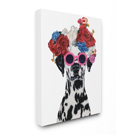 The Stupell Home Decor Collection Dalmatian Dog Flower Crown And Round Sunglasses Canvas Wall (Sunglasses Wall Art)