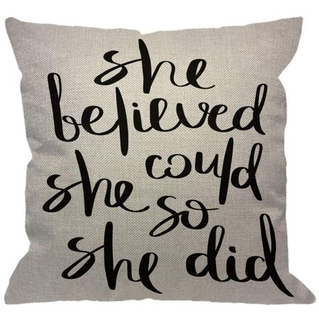 - HGOD DESIGNS Inspirational Quote Throw Pillow Cover,Ink Brush Lettering She Believed She Could So She Did Decorative Pillow Cases Cotton Linen Square Cushion Covers for Home Sofa Couch 18x18 inch Colo