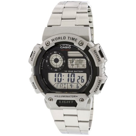 Men's Classic Digital World Time Bracelet Watch, Silver - AE1400WHD-1AV World Time Stopwatch Countdown Timer