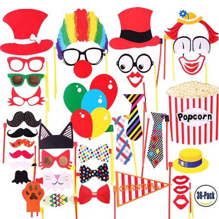 Attached Photo Booth Props, Party Favors for Wedding Birthday Carnival Bachelorette Dress-up Acessories 36 Pcs, Costume with Mustache, Glasses, Cat, Clown, Bowler, Bowties on Plastic Sticks