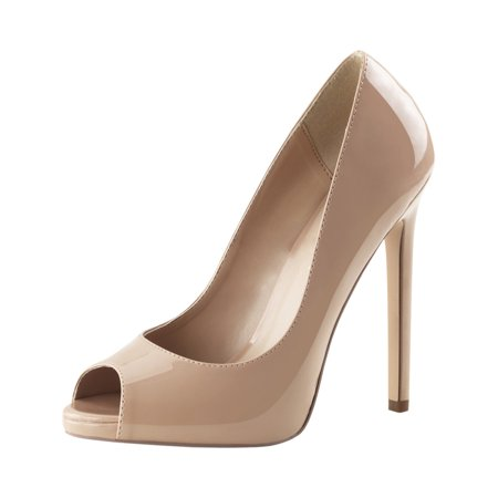 womens nude high heels peep toe pumps platform shoes dress stiletto 5 inch heel
