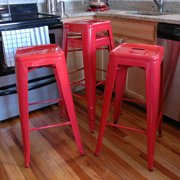 AmeriHome Loft Red Metal Bar Stool 4 Piece by Buffalo Corp