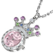 Fashion Alloy Stainless Steel Crown Princess Pocket Watch Girls Necklace