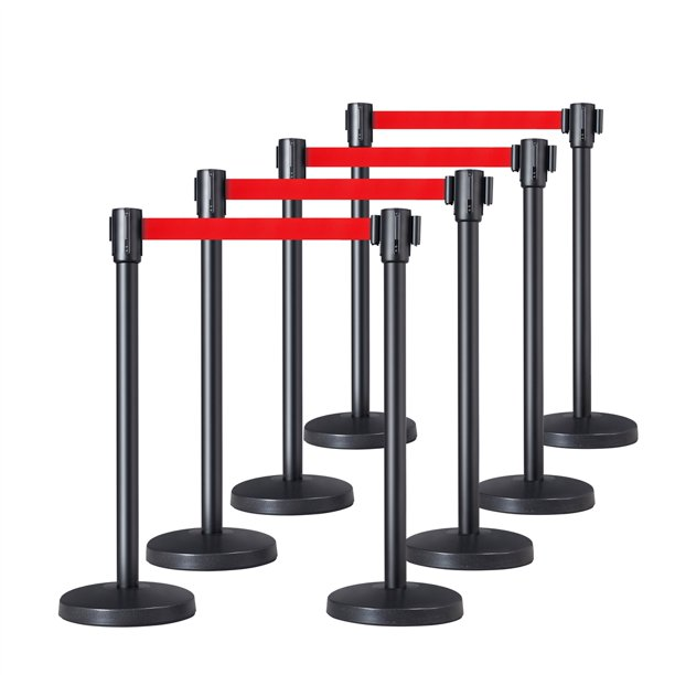Smilemart Retractable Belt Stanchion Set Crowd Control Barriers Nylon Rope Safety Stanchion For Outdoor Indoor Set Of 8 Walmart Com Walmart Com