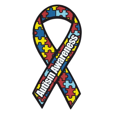 Magnetic Bumper Sticker - Autism Awareness (Puzzle Pieces, Autistic) - Ribbon Shaped Support Magnet - 4