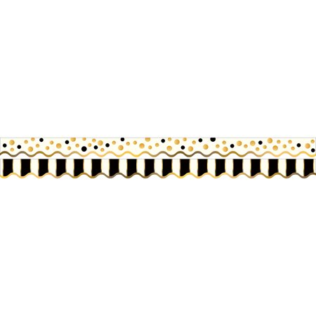 GOLD BARS BORDER DOUBLE-SIDED SCALLOPED EDGE (Black And Gold Border)
