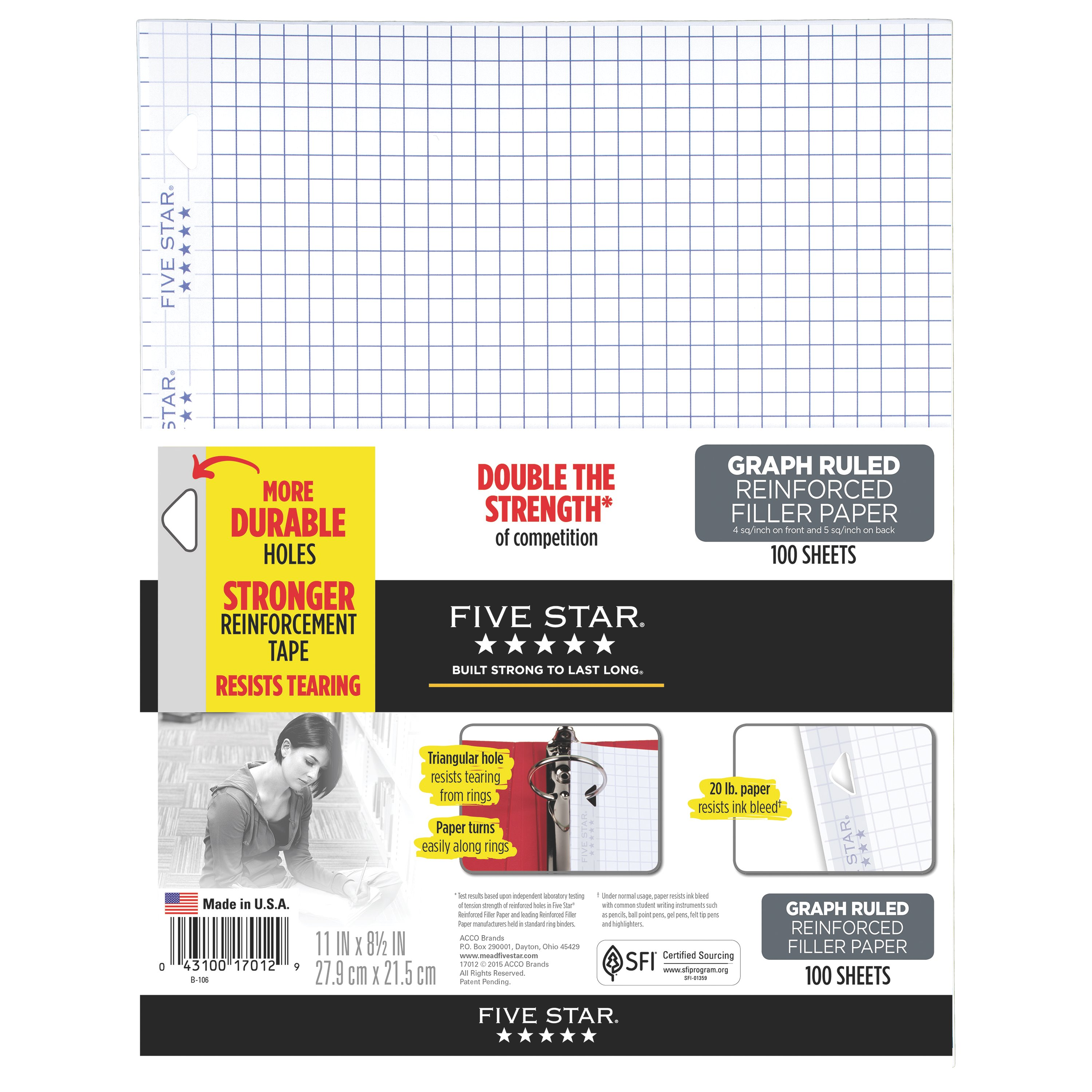 Five Star® Reinforced Filler Paper, Graph Ruled, 100 Sheets/Pack (17012)