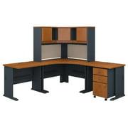 Bush Business Furniture SRA061NCSU 84 x 84 in. Series A Corner Desk with Hutch & Mobile File Cabinet - Natural Cherry