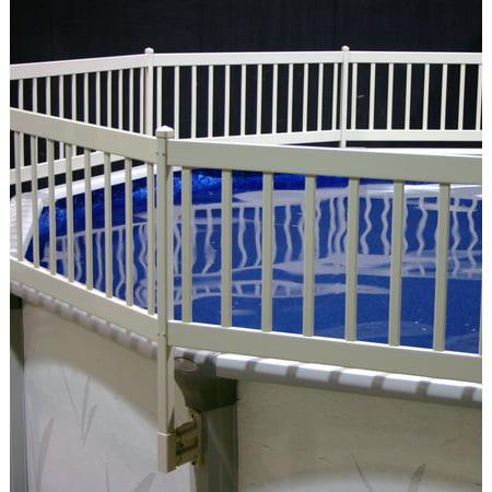 vinyl works above ground pool fence kit 8 section taupe - Above Ground Pool Fence