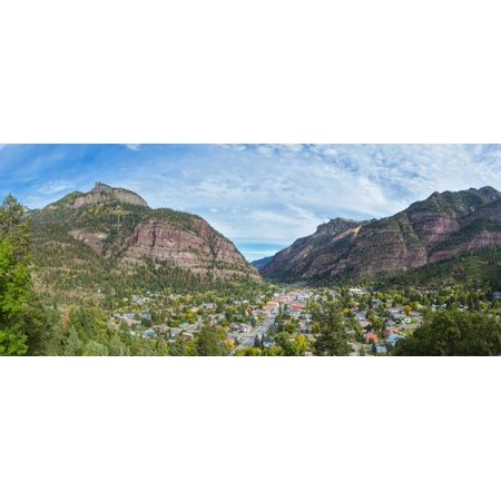 Elevated view of Historic Victorian mountain town of Ouray Ouray County San Juan Mountains Colorado USA Poster Print by Panoramic