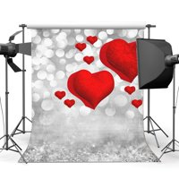 MOHome Polyster 5x7ft Valentine's Day Backdrop Red Sweet Hearts Background Bokeh Halos Glitter Sequins Romantic Wedding Photography Backdrops Girls Lover Photo Studio Props