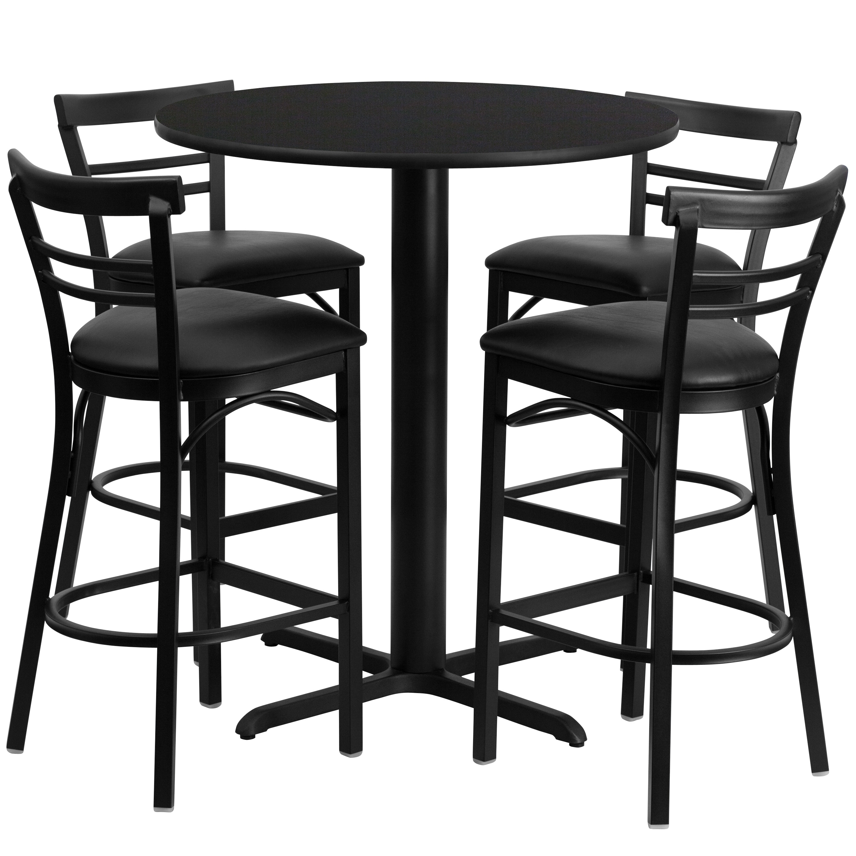 Lancaster Home 24'' Round Laminate Table Set with 4 Ladder Back Metal Barstools