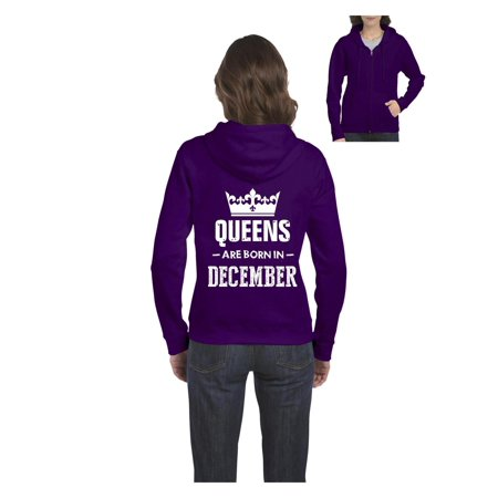 Birthday Gift Queens Are Born in December Women's Full-Zip Hooded