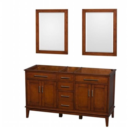 Wyndham Collection WCV161660DCLCXSXXMED Hatton 60 in. Double Bathroom Vanity in Light Chestnut, No Countertop, No Sinks, and Medicine Cabinets (Sink Chest Light)