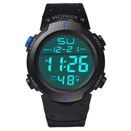 Men LED Light Digital Sport Watch Fashion Business Outdoor Big Dial Students Automatic Mechanical Gift Multifunction Wristwatch
