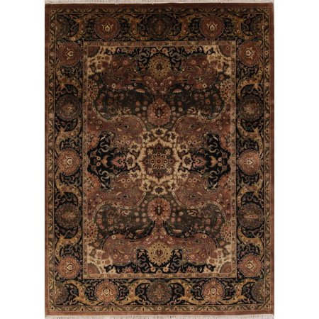 RugSelect Black Geometric Hand Knotted 9x12 100% Wool Indian Oriental Area Rug Carpet For Living Room (12' 2'' X 9' (100 Black Oriental Rugs)