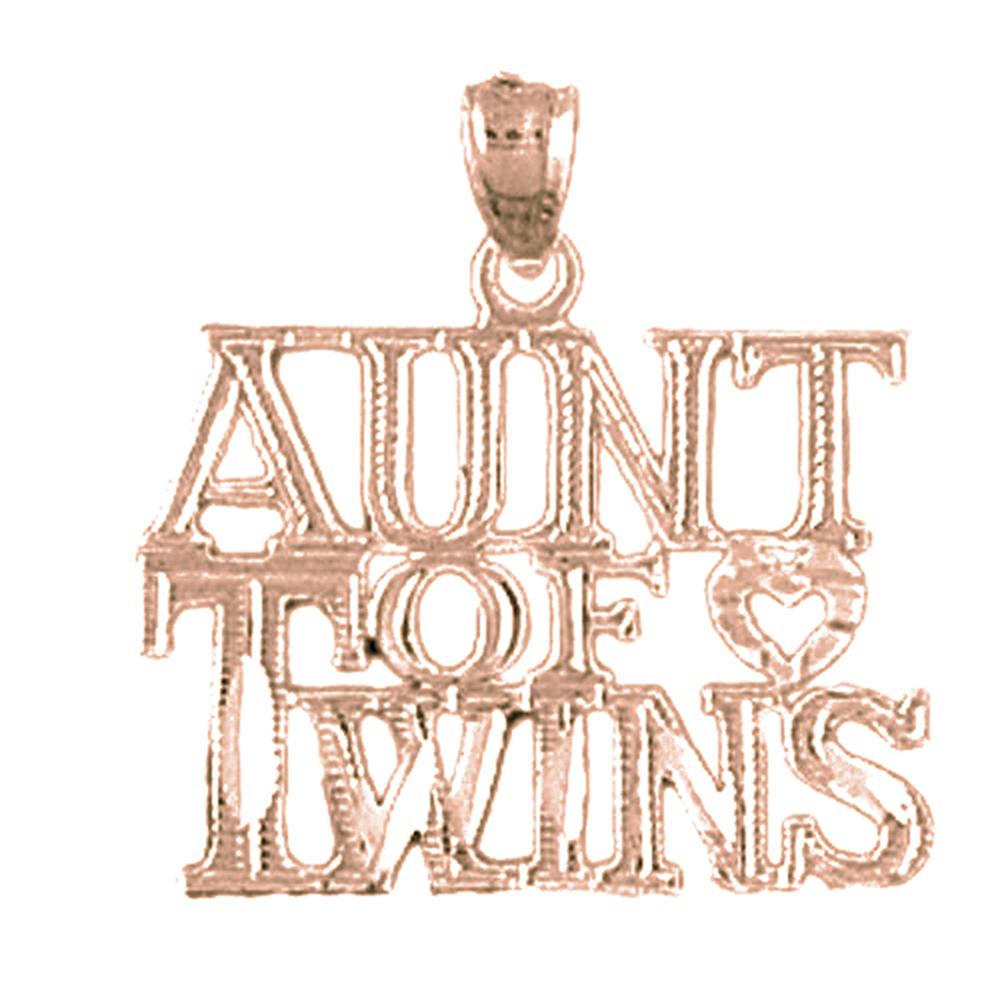 14K Rose Gold Aunt Of Twins Pendant - 22 mm