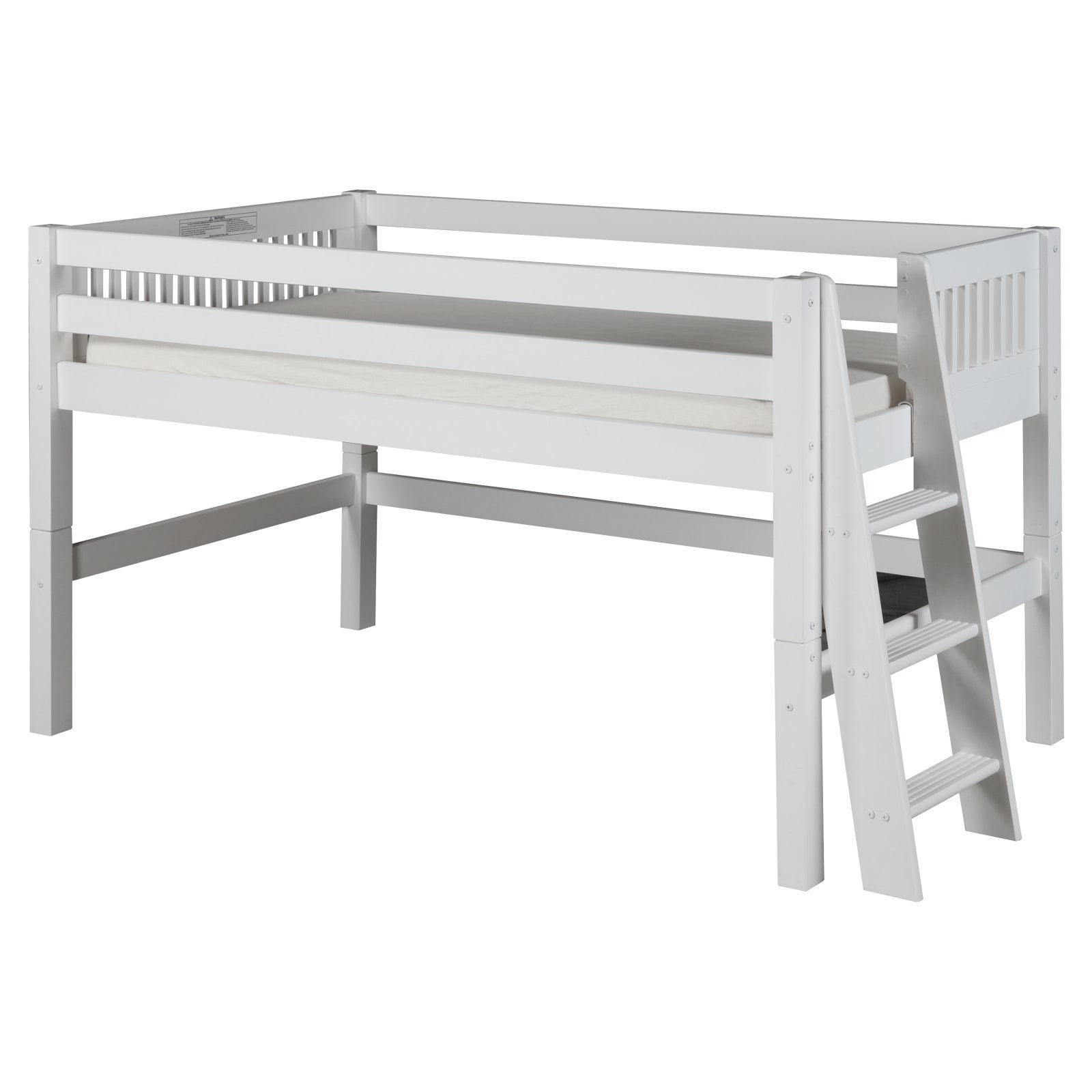 Camaflexi Full Size Low Loft Bed Mission Headboard Lateral Ladder White Finish Walmart Com Walmart Com
